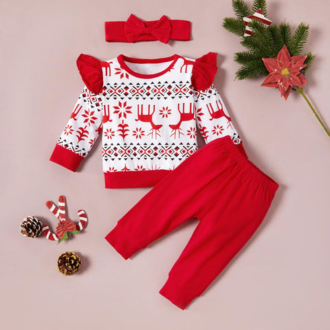 Ruffles Shoulder Elk Holiday Set 0-18M
