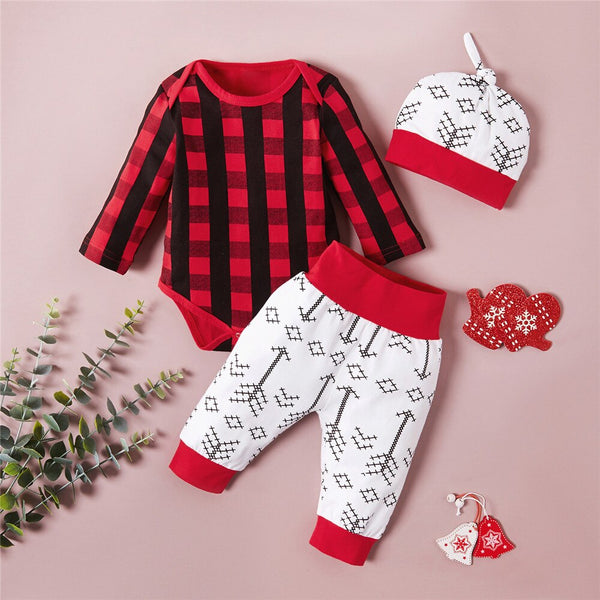 Red&Black Plaid Infant Christmas Set 0-18M