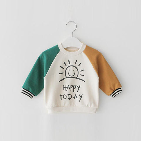 Happy Today Toddler Sweatshirt With Raglan Sleeves