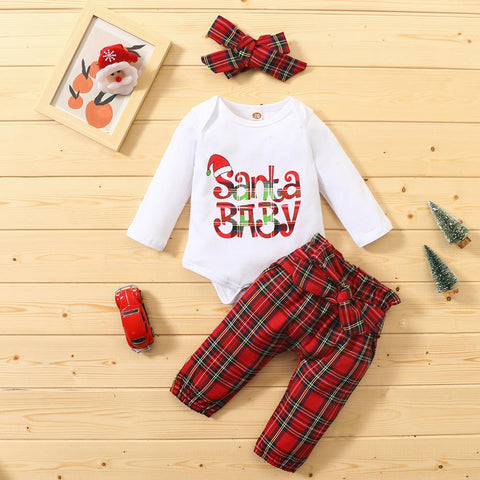 Santa Baby Red Plaid Christmas Set 0-18M