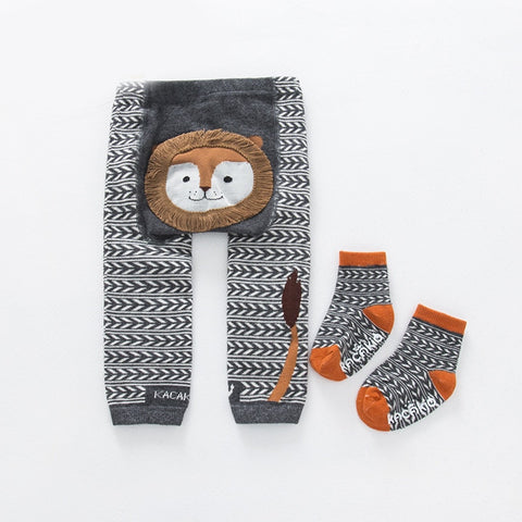 2Pcs/Set Cute Animal Infant Autumn Winter Warm Tight Grey Lion