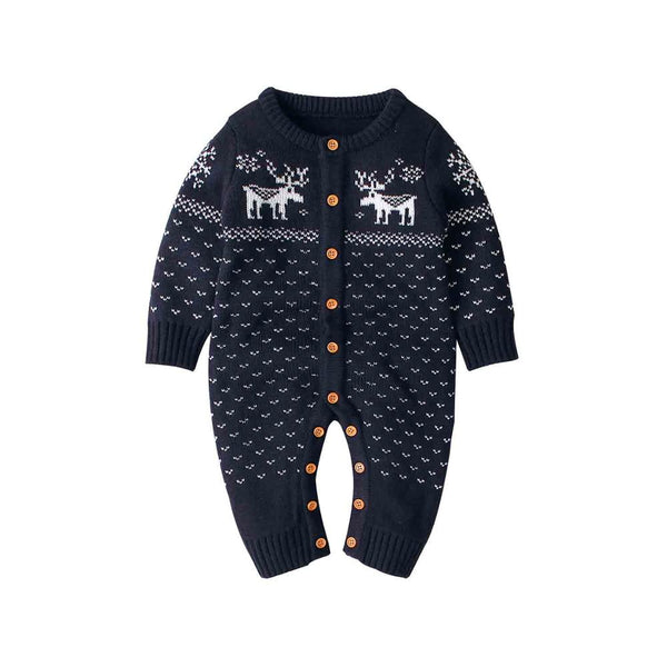 Winter Holidays Reindeer Knitted Jumpsuits 6-12M