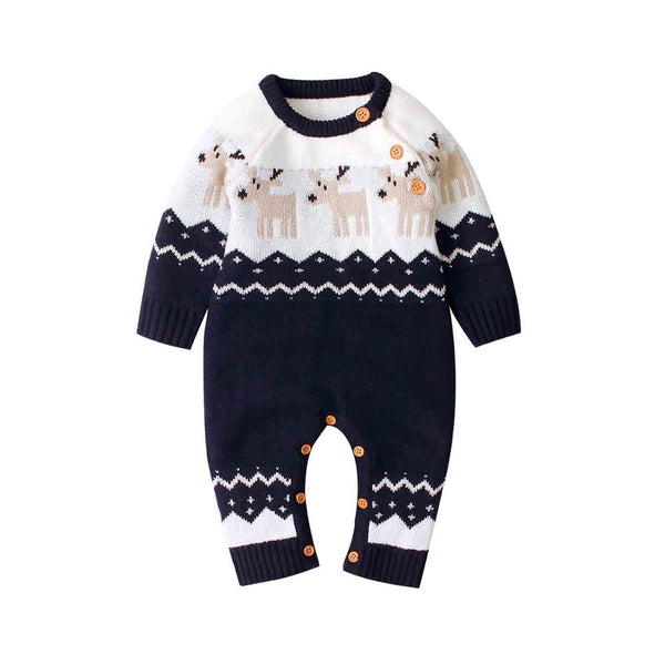 Reindeer Baby Knitted Long Sleeve Jumpsuits 6-24M