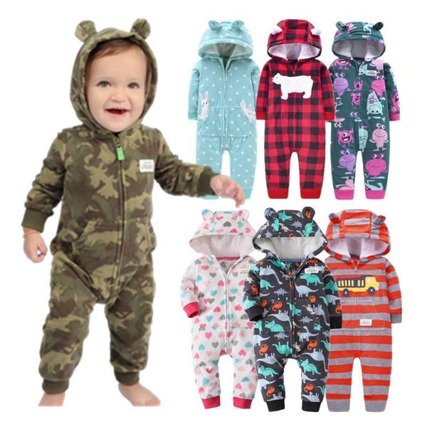 Infant Hooded Jumpsuits With Lovely Ears