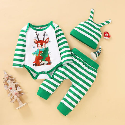 Green Stripes Elk Holiday Set 0-18M