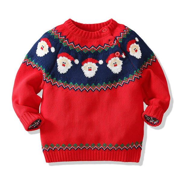 Christmas Design Santa Claus Toddler Knitted Sweaters 1-5T