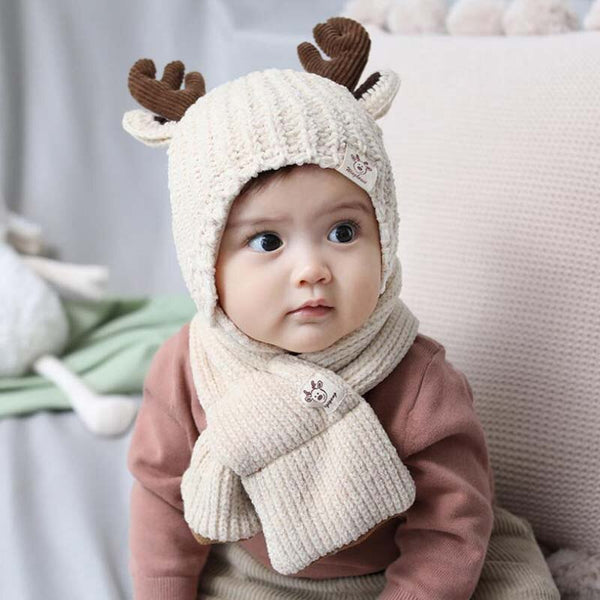 Infant Knitted Cute Buckhorn Hat Set 1-3T