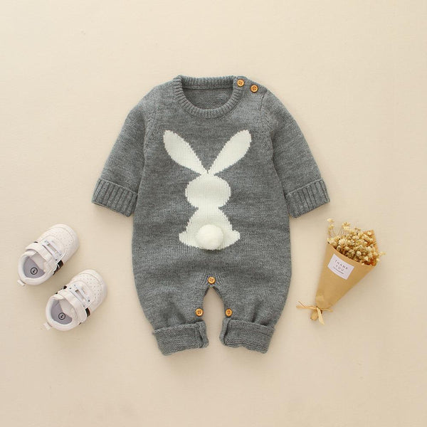 Bunny Pompom Tail Knitted Baby Jumpsuits 6-24M(3 Colors)