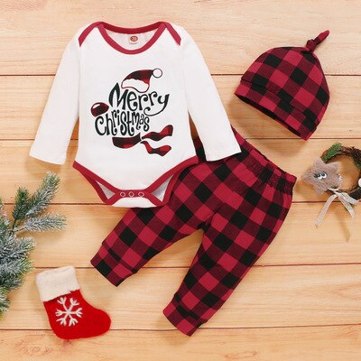 Red Plaid Cute Infant Christmas Set 0-18M