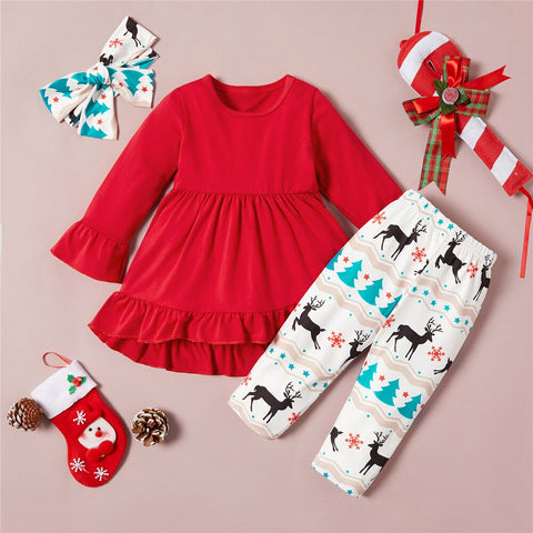 Red Shirt & White Elk Infant Set 0-18M