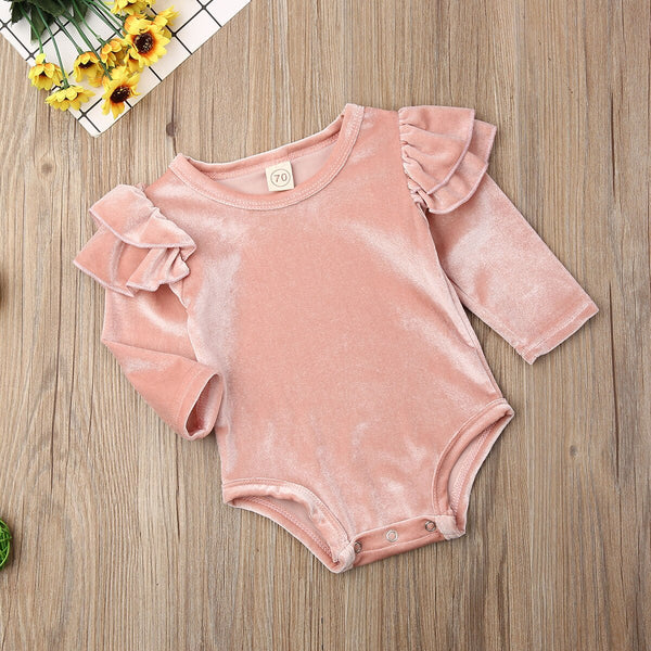 Velvet Long Sleeve Ruffles Jumpsuit 0-18M
