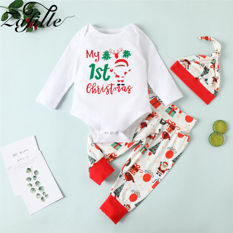 My First Christmas Pringting White Set 0-18M