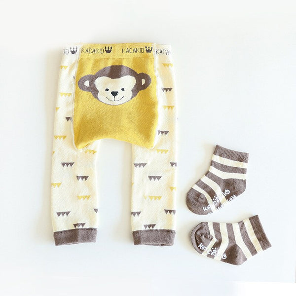 Animal Knitted Warm Legging With Set Socks 0-3T (10 Colors)