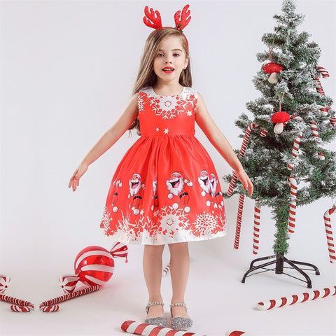 Christmas Santa Claus Printing Dress 3-10T