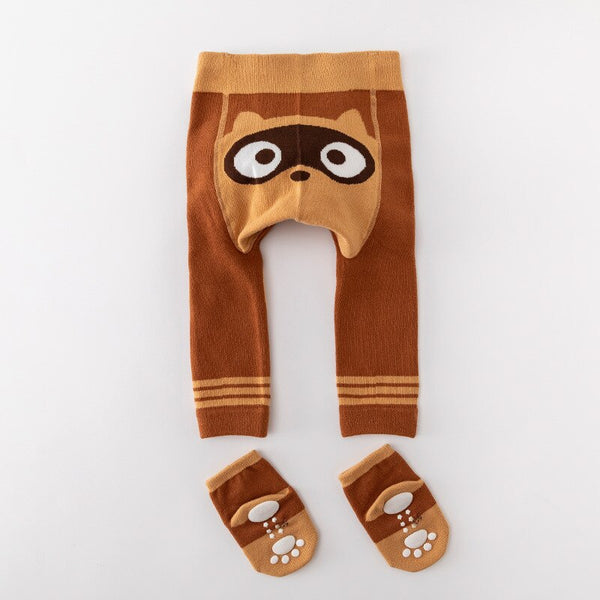 Cute Animal Infant Autumn Winter Legging With Socks 0-3T (5Colors)