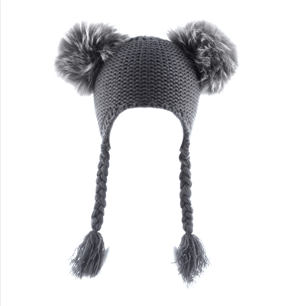 Grey Knitted Pompom Hat