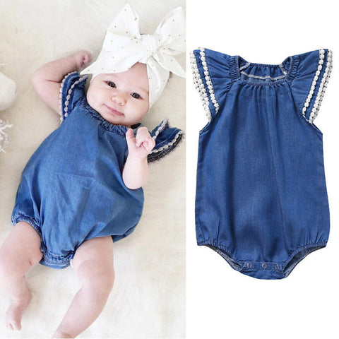 Baby Denim Ruffle Bodysuit