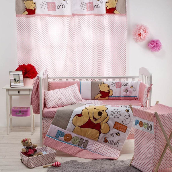Disney Light Red Pooh Sleep Time Crib Bedding Set