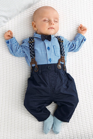 Baby Plaid & Suspenders 2pcs Set-www.my-baby-world.com