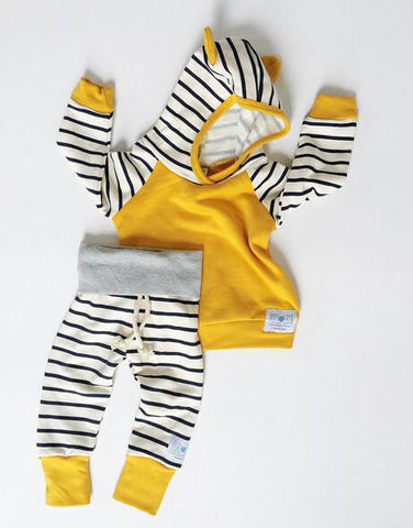 Baby Yellow Stripes Hoodie 2pcs Set
