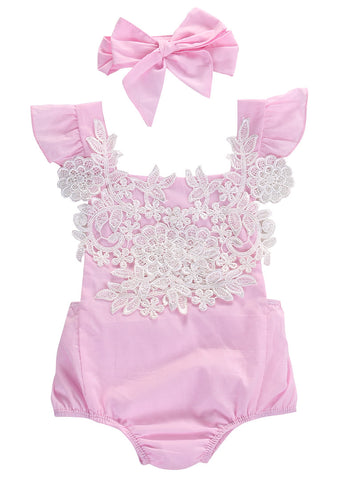 Baby Pink Lace Bodysuit 2pcs Set-www.my-baby-world.com