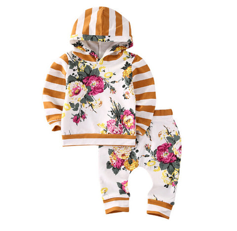 Baby Yellow Floral & Stripes Hoodie 2pcs Set-www.my-baby-world.com