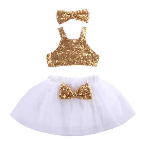 Baby Gold Tutu 3pcs Set