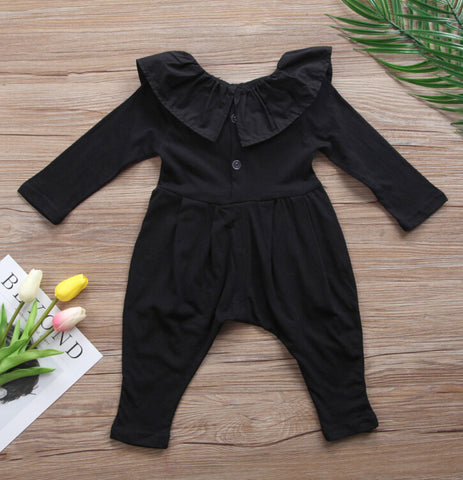 Baby Black Ruffle Jumpsuit-www.my-baby-world.com
