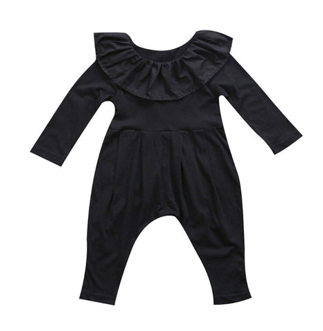 Baby Black Ruffle Jumpsuit