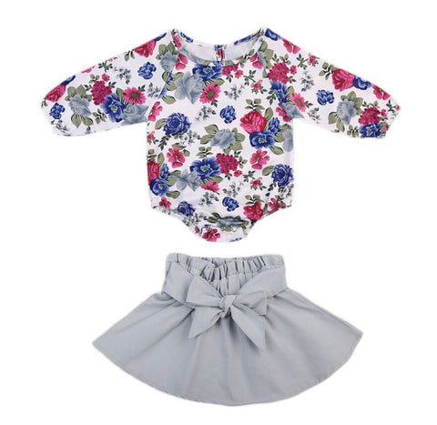 Baby Floral & Gray Skirt 2pcs Set-www.my-baby-world.com