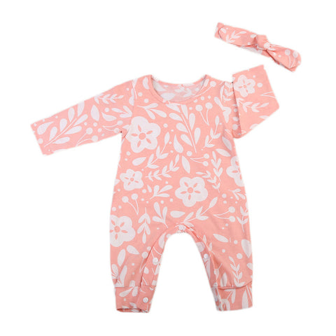 Baby Pink Floral Jumpsuit 2pcs Set