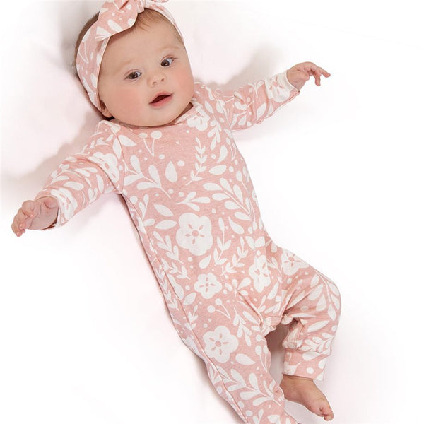 Baby Pink Floral Jumpsuit 2pcs Set-www.my-baby-world.com