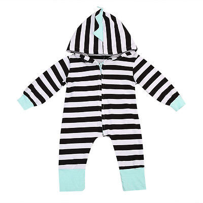 Baby Striped & Spiked Hoodie Jumpsuit-www.my-baby-world.com