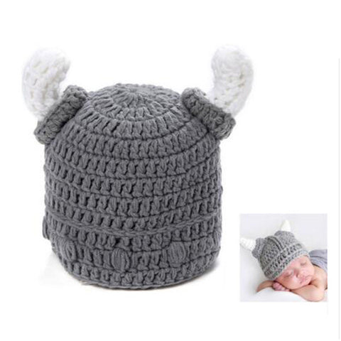 Baby Newborn Viking Crochet Hat