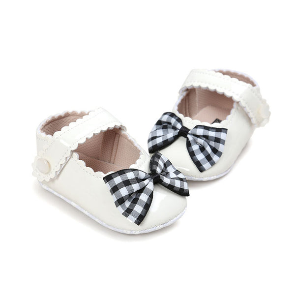 Baby Plaid Bow Shoes-www.my-baby-world.com