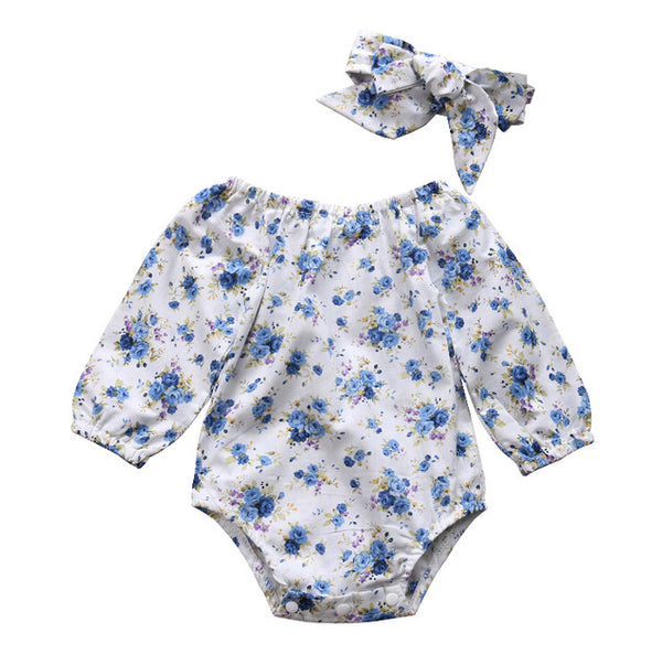 Baby Blue Floral bodysuit 2pcs Set-www.my-baby-world.com