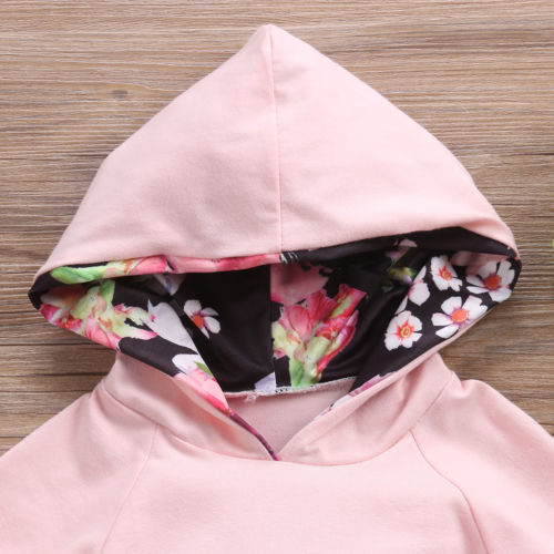 Baby Pink Floral Hoodie 2pcs Set-www.my-baby-world.com