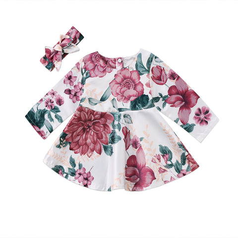 Baby Red Flowers Dress 2pcs Set