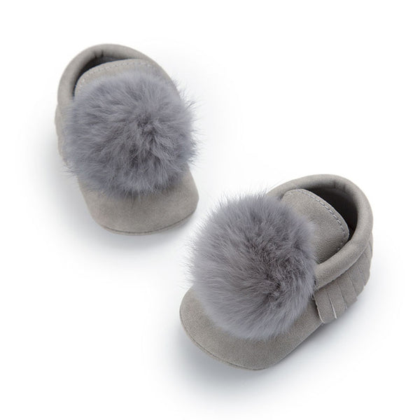 Baby Fur Pom Pom Shoes-www.my-baby-world.com