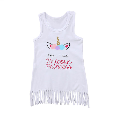 Baby Princess Unicorn Fringe Dress