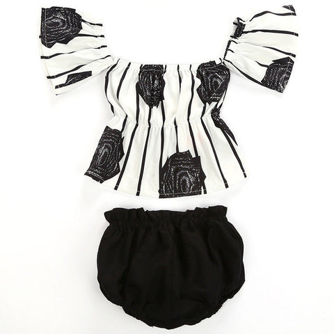 Baby Black & White Floral 2pcs Set-www.my-baby-world.com