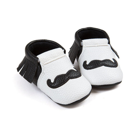 Baby Boy Mustache Moccasins Shoes-www.my-baby-world.com