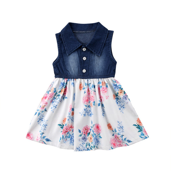 Baby Floral & Denim Dress-www.my-baby-world.com