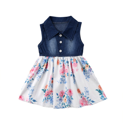 Baby Floral & Denim Dress