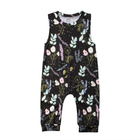 Baby Black Floral Sleeveless Jumpsuit