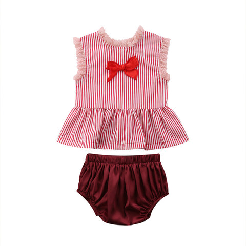 Baby Red Stripes 2pcs Set