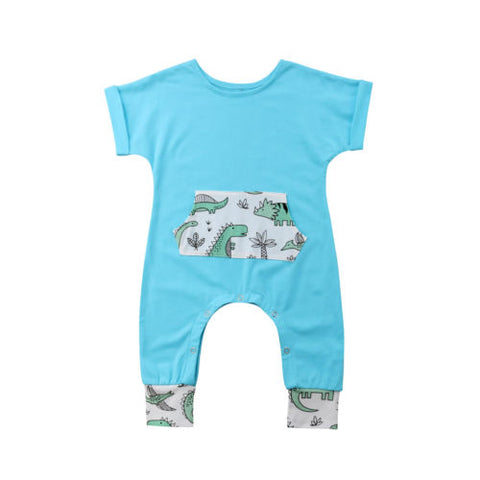Baby Blue Dino Pocket Jumpsuit