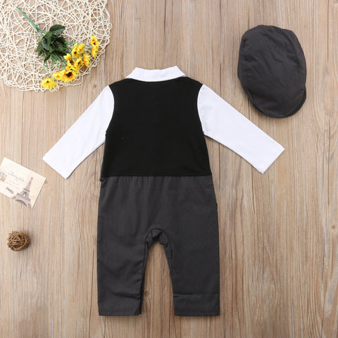 Baby Little Gentleman Jumpsuit & Hat-www.my-baby-world.com