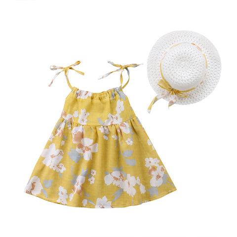 Baby Floral Dress & Straw Hat Set