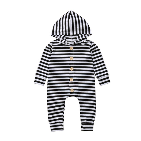 Baby Stripes w, Buttons Hoodie Jumpsuit